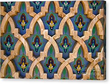 Intricate Zelji At The Hassan II Mosque Sour Jdid Casablanca Morocco Canvas Print