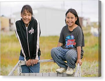 Inuit Children On Shishmaref Canvas Print by Ashley Cooper