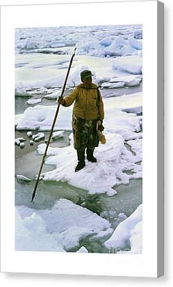Canvas Print featuring the photograph Inuit Seal Hunter Barrow Alaska July 1969 by California Views Mr Pat Hathaway Archives