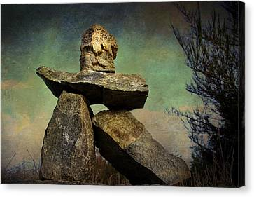 Canvas Print featuring the photograph Inukshuk I by Peggy Collins