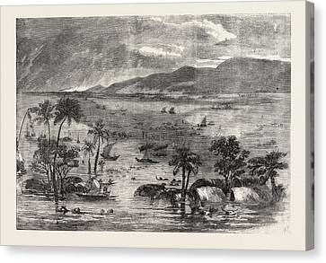 Inundation In India View Of A Branch Of The Ganges Canvas Print by English School