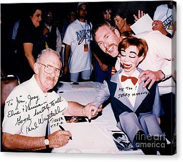 Inventor Of An Artificial Heart Pump And Ventriloquist Paul Winchell Dummy Jerry Mahoney And Myself Canvas Print by Jim Fitzpatrick