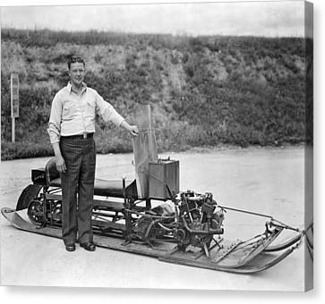 Inventor Of First Snowmobile Canvas Print by Underwood Archives