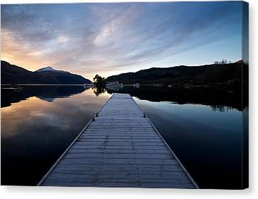 Canvas Print featuring the photograph Invergluss Jetty A Winters Morning by Stephen Taylor