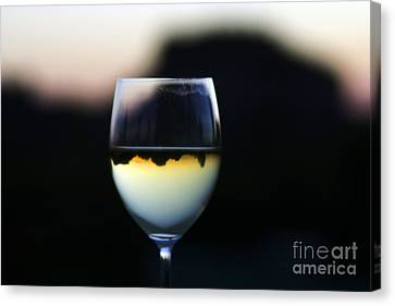 Inverted Landscape In Wine Glass Canvas Print