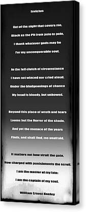 Invictus By William Ernest Henley Canvas Print by Daniel Hagerman