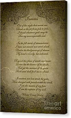 Invictus By William Ernest Henley Canvas Print by Olga Hamilton