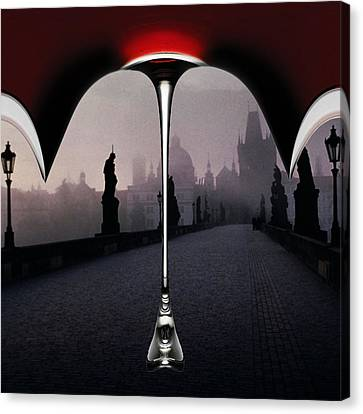 Foggy Day Digital Art Canvas Print - Invisible Man Holding Glass Umbrella Handle by Bruce Iorio