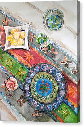 Canvas Print featuring the painting Invitation 2 by Becky Kim