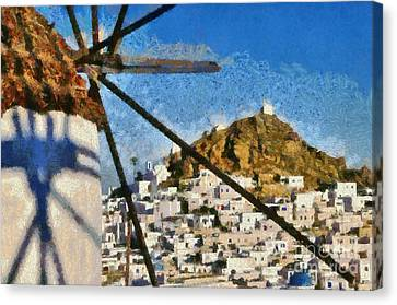 Ios Town And Windmill Canvas Print by George Atsametakis