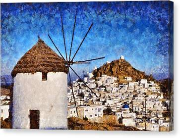 Islands Canvas Print - Ios Town And Windmill by George Atsametakis