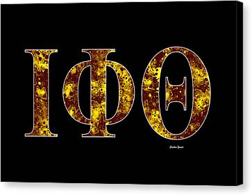 Canvas Print featuring the digital art Iota Phi Theta - Black by Stephen Younts