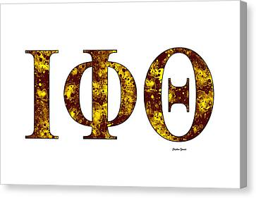 Canvas Print featuring the digital art Iota Phi Theta - White by Stephen Younts