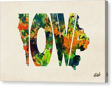Iowa Typographic Watercolor Map Canvas Print by Ayse Deniz