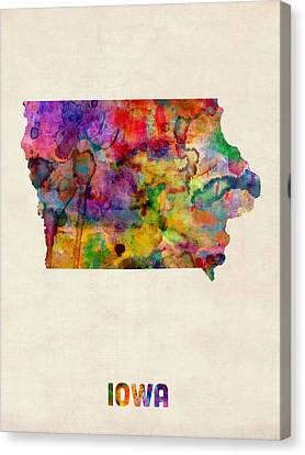 Map Art Canvas Print - Iowa Watercolor Map by Michael Tompsett