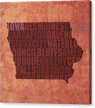Iowa Word Art State Map On Canvas Canvas Print by Design Turnpike