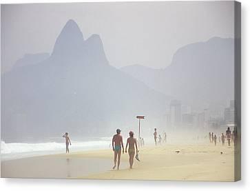 Ipanema Beach Scene, Rio De Janiero Canvas Print by Kevin Berne