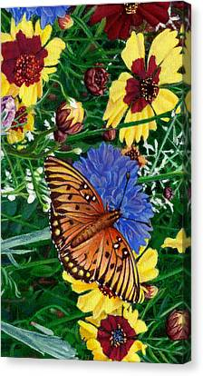 iPhone Case -Butterfly Wildflowers garden oil painting Floral green blue orange-2  Canvas Print by Walt Curlee