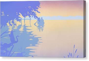 iPhone - Galaxy Case tropical boat Dock Sunset large pop art nouveau retro 1980s florida seascape Canvas Print