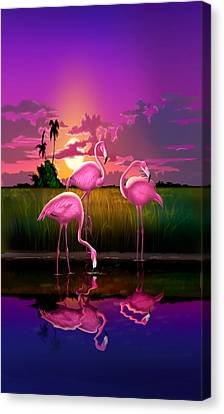 iPhone Case - Flamingoes Flamingos Tropical Sunset landscape florida everglades hot pink purple Canvas Print by Walt Curlee