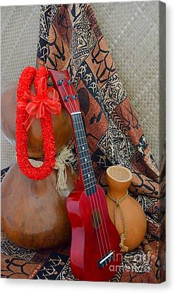 Ipu Heke And Red Ukulele And Red Satin Lei Canvas Print by Mary Deal