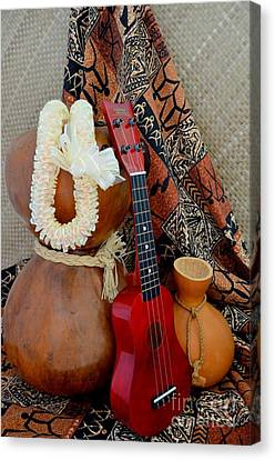 Ipu Heke And Red Ukulele With White Satin Lei Canvas Print by Mary Deal