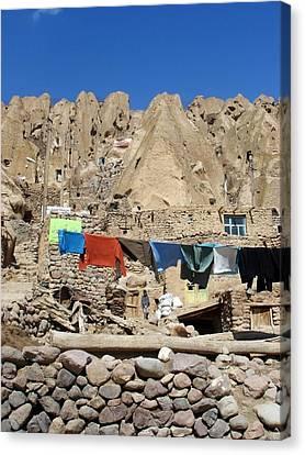 Iran Kandovan Stone Village Laundry Canvas Print by Lois Ivancin Tavaf