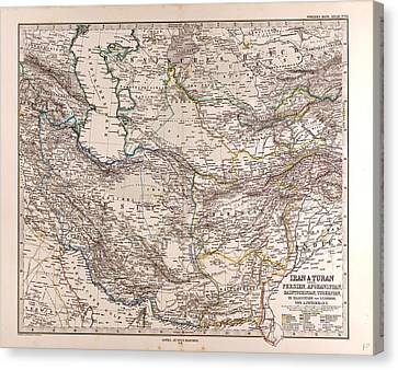 Iran Persia Map 1876 Gotha Justus Perthes Atlas Canvas Print by English School