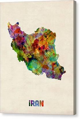 Iran Watercolor Map Canvas Print by Michael Tompsett