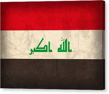 Iraq Flag Vintage Distressed Finish Canvas Print by Design Turnpike