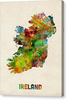 Ireland Eire Watercolor Map Canvas Print