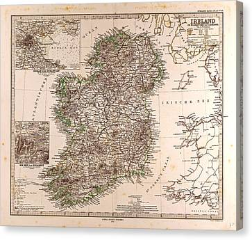 Ireland Map 1872 Gotha Justus Perthes 1872 Atlas Canvas Print