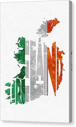 Ireland Typographic Map Flag Canvas Print by Ayse Deniz