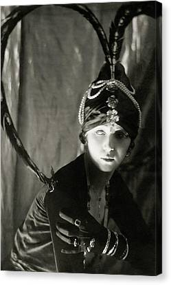 Irene Castle Wearing A Headdress Canvas Print by Malcolm Arbuthnot