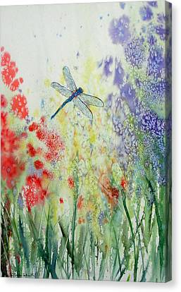Iridescent Dragonfly Dances Among The Blooms Canvas Print