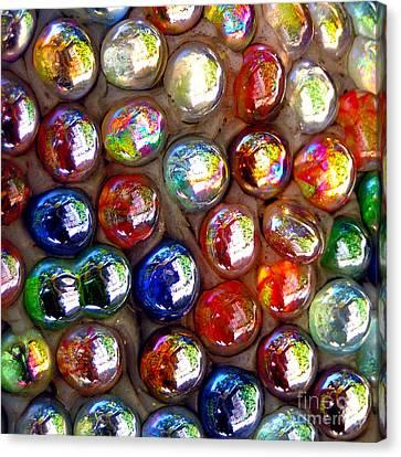 Iridescent Glass Marbles Mosaic Canvas Print by Alexandra Jordankova