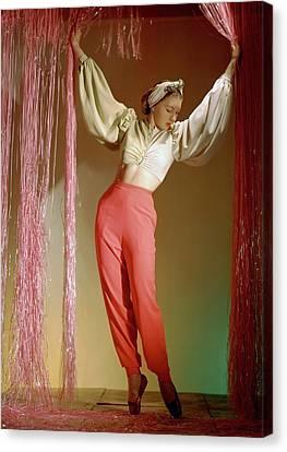 Ballet Dancers Canvas Print - Irina Baronova Under Curtains by Horst P. Horst