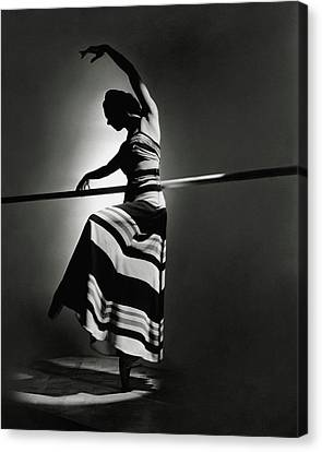 Ballet Dancers Canvas Print - Irina Baronova Wearing A Stripes by Horst P. Horst