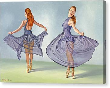 Irina Dancing In Sheer Skirt Canvas Print by Paul Krapf