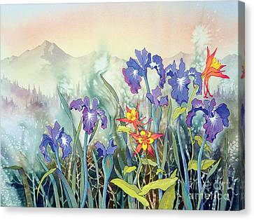 Canvas Print featuring the painting Iris And Columbine II by Teresa Ascone