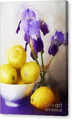 Iris And Lemons Canvas Print by HD Connelly