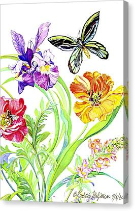 Iris And Queen Alexandra Butterfly Canvas Print by Kimberly McSparran