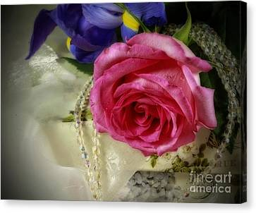 Iris And Rose On Vintage Treasure Box Canvas Print by Inspired Nature Photography Fine Art Photography