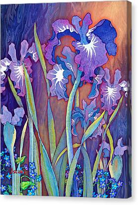 Canvas Print featuring the mixed media Iris Bouquet by Teresa Ascone