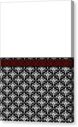 Iris Damask In Red Black And White Canvas Print