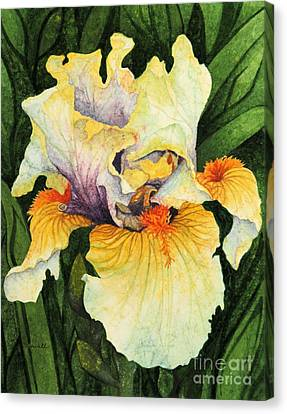 Canvas Print featuring the painting Iris Elegance by Barbara Jewell