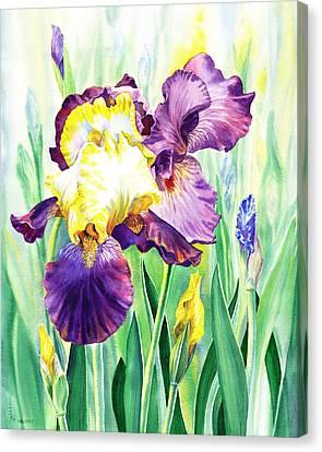 Canvas Print featuring the painting Iris Flowers Garden by Irina Sztukowski