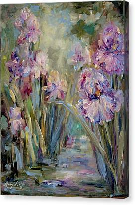 Canvas Print featuring the painting Iris Garden by Mary Wolf