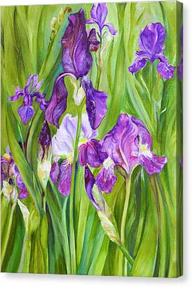 Canvas Print featuring the painting Iris by Nadine Dennis