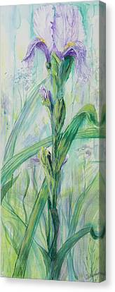 Canvas Print featuring the painting Iris Number Two by Cathy Long